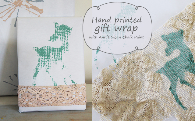 Hand printed gift wrap with stencil and Annie Sloan Chalk Paint