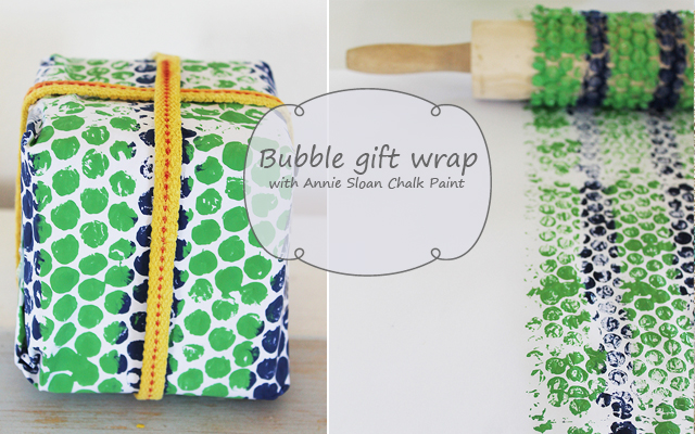 Hand printed gift wrap with bubble wrap and Annie Sloan Chalk Paint