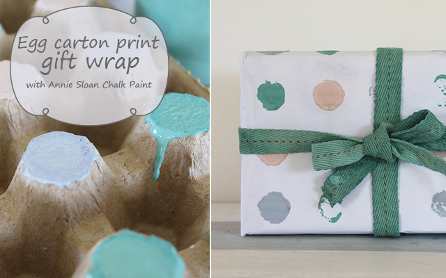 Hand printed gift wrap with egg carton and Annie Sloan Chalk Paint