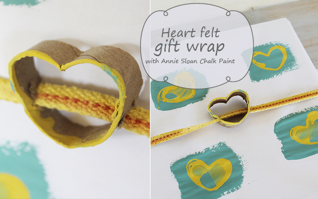 Hand printed gift wrap with empty rolls and Annie Sloan Chalk Paint