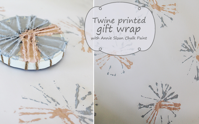 Hand printed gift wrap with twine and Annie Sloan Chalk Paint