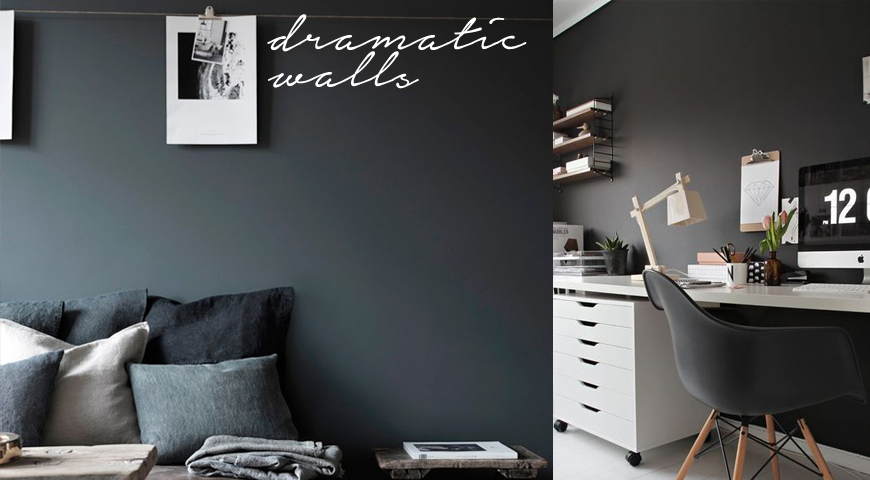 Decorate with dark wall colours: black, charcoal, green & blue