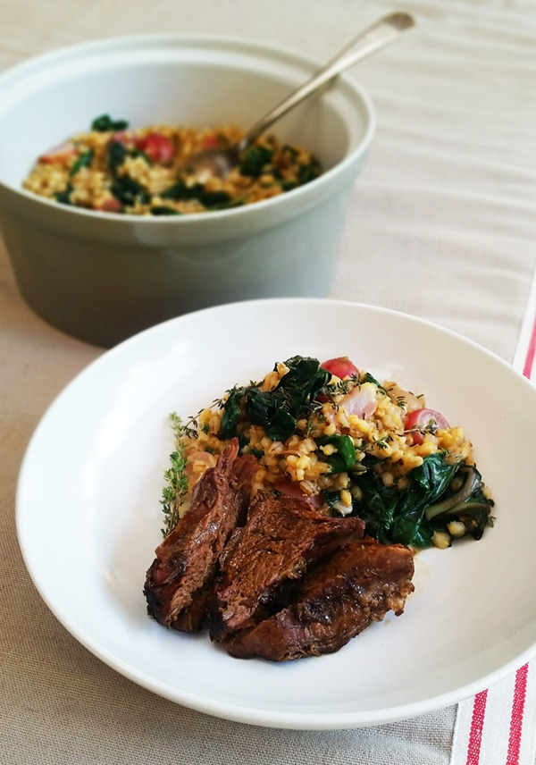 Beef Chuck Roast and Barley Risotto with Radish and Swiss Chard