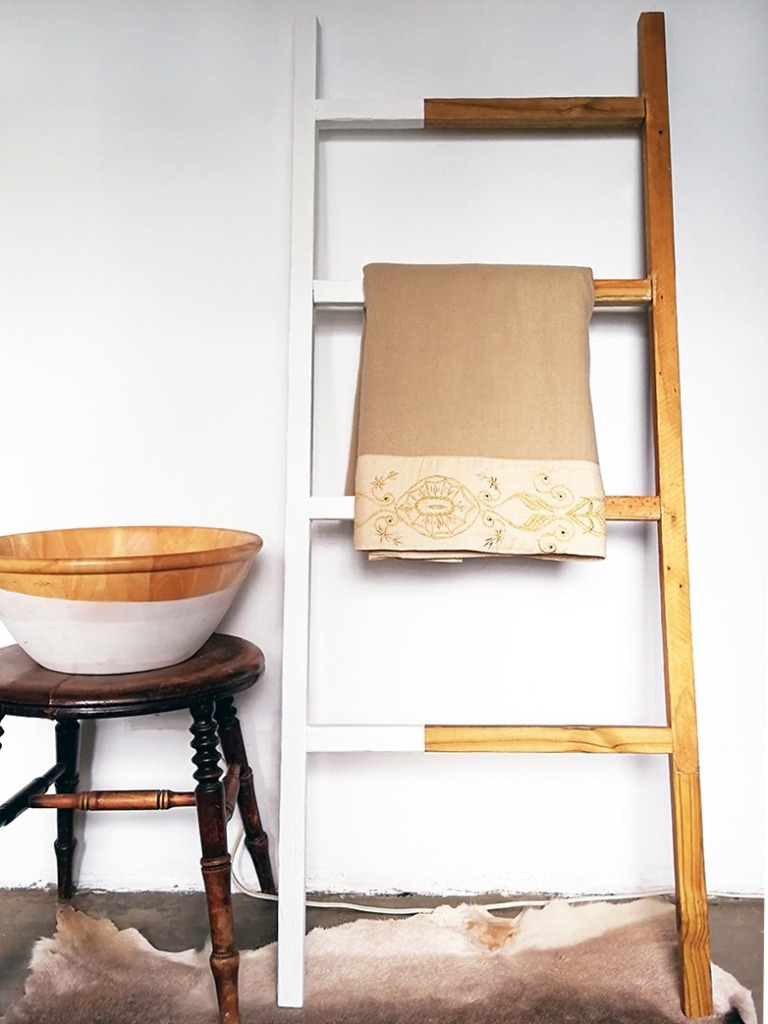 ladder shelf with white paint scandinavian style