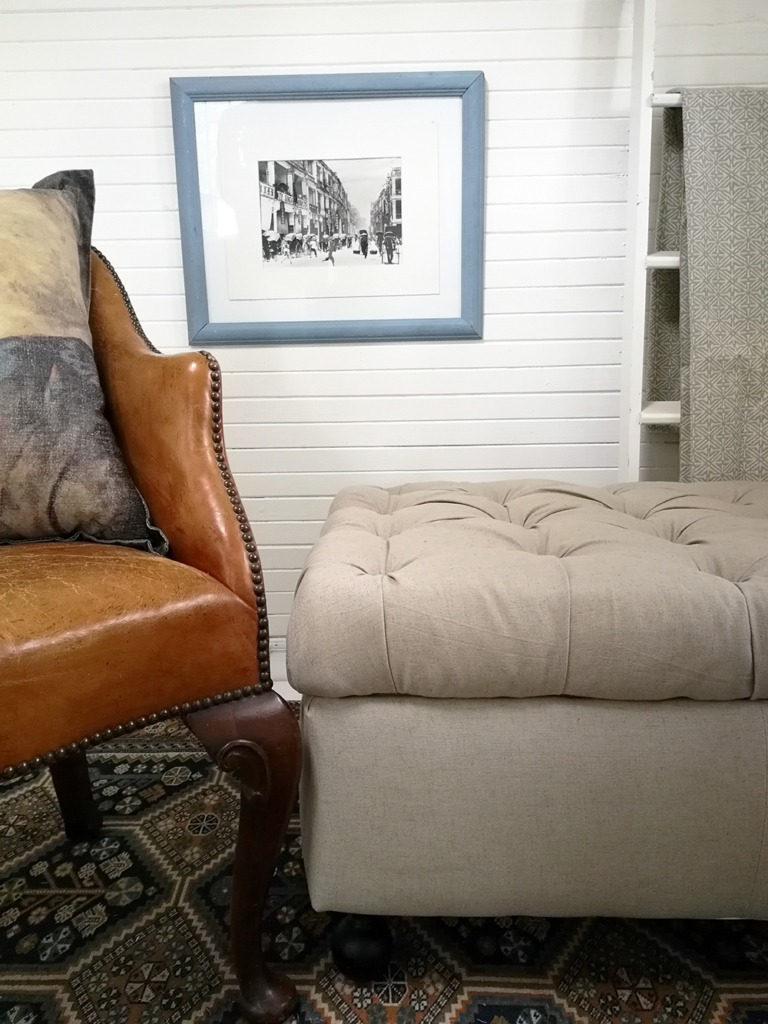 ottoman and leather chair