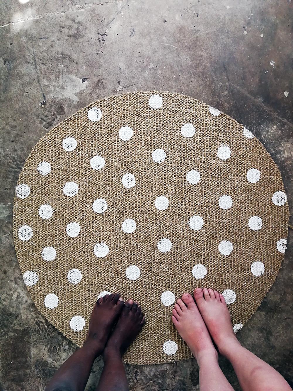 polkadot rug kids feet