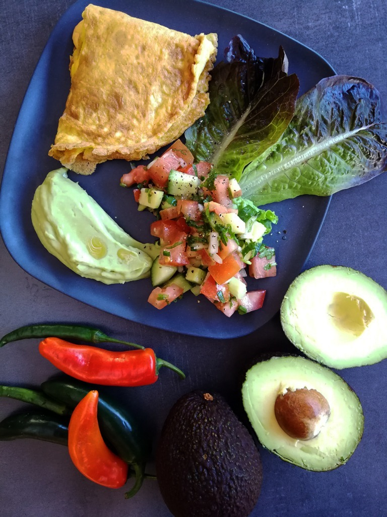 guacomole, salsa, flourless tortillas