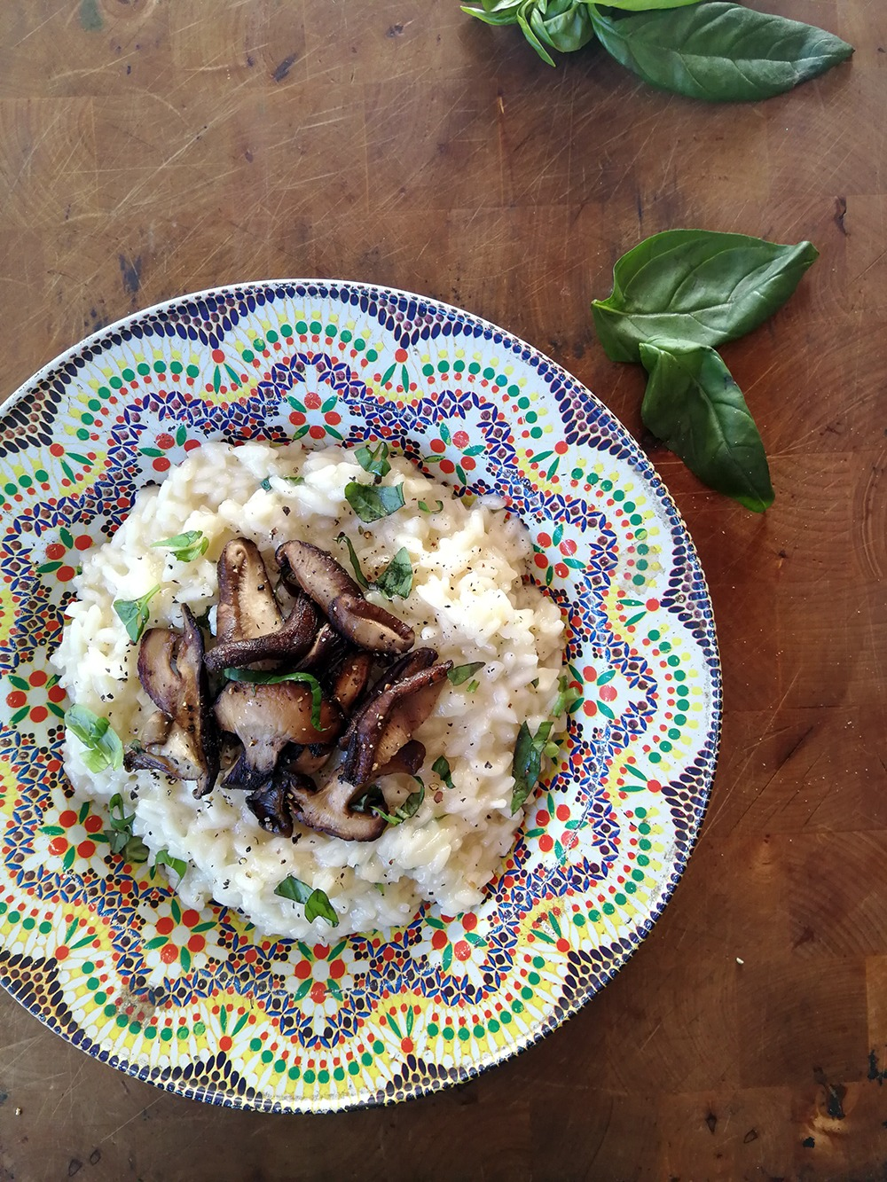 mushroom risotto in metal plate