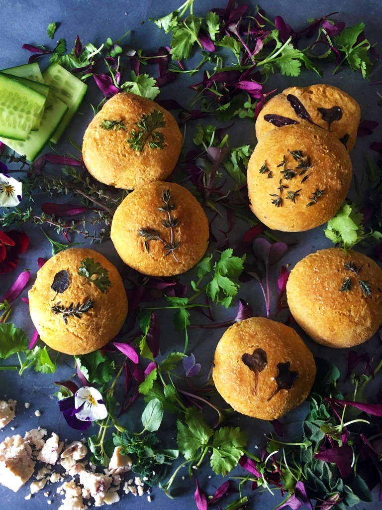 Sweet Potato Bread Buns with Edible Flowers and Herbs