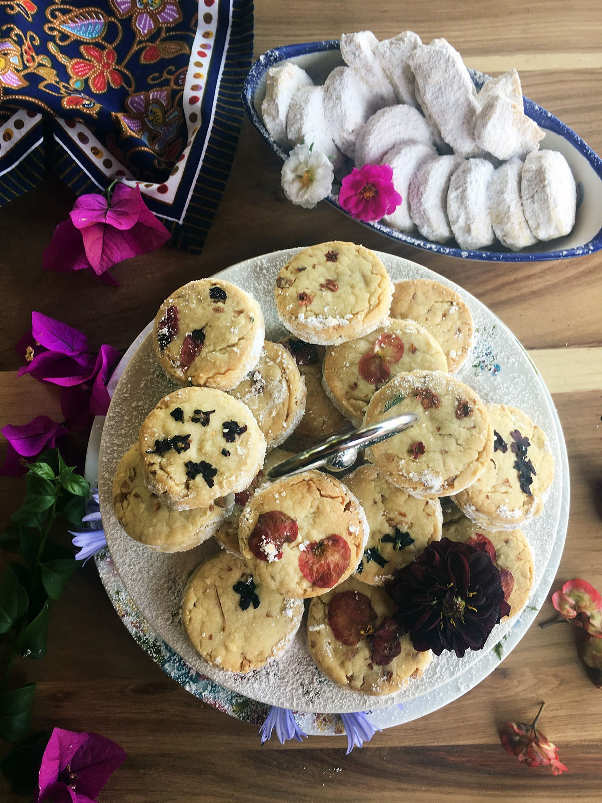 New Year's Almond Shortbread Cookies with Edible Flowers