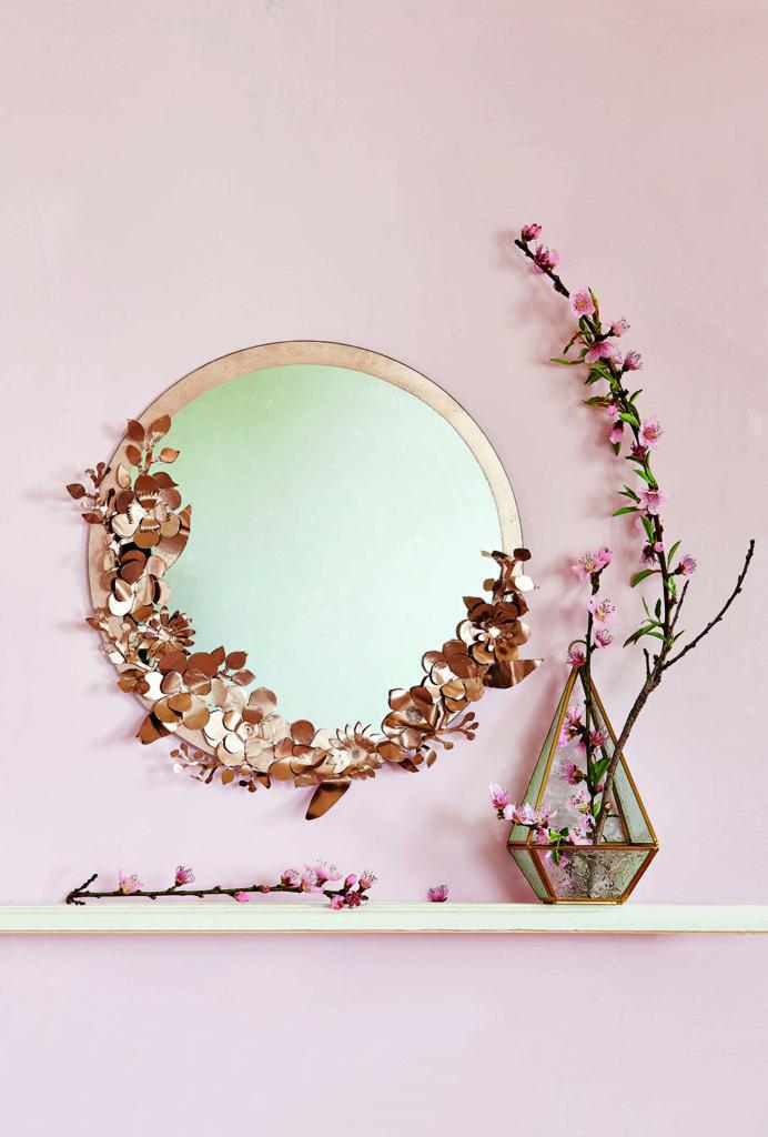 craft metal floral mirror