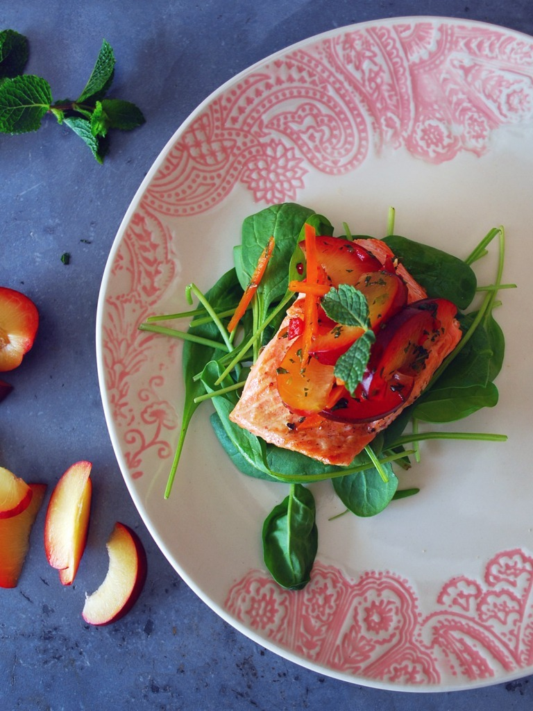 how to cook trout fillet with plum salsa